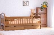 Кровать одноярусная деревянная Арина с бортиками и двумя ящиками (Венгер)